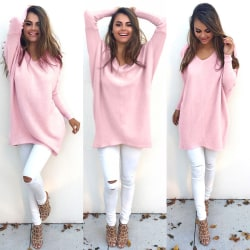 Sexy V-neck Long Sleeve Sweater pink M