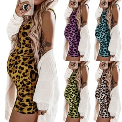 Sexy Women Dress Leopard Maternity Dresses purple M