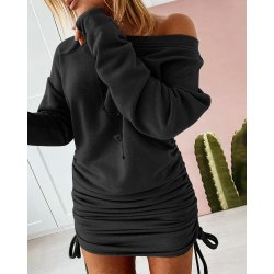 Sexy Womens Drawstring Mini Long Sleeve Hoodies Jumper Dress Black XL