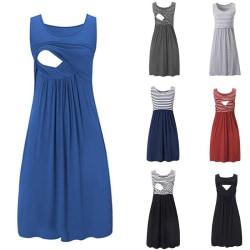 Randig ärmlös klänning i europeiskt och amerikanskt mode