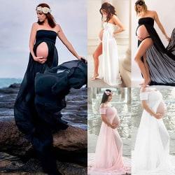 Slit Maternity Long Skirt Temperament Beach Vacation Long Dress white L