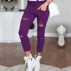 Smala jeans för kvinnor med hög stretch, rippade 9-punktsbyxor lila S