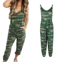Strap Jumpsuit Women Camouflage Waist Band Romper Camoufalge L