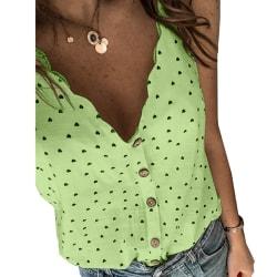 Strap V-neck Button T-shirt Tank Tops Green XL