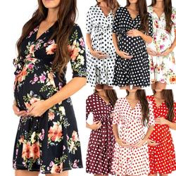 Europeisk och amerikansk moderskapsklänning med prickar