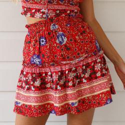 Sommar ruffle kjol, damer kort kjol, strand söt kort kjol big red M
