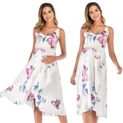 Women's Fashion Loose Printed Beach Maternity Dress white S