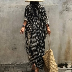 Tie-dye-solskydds-kofta för kvinnor strandöverdrag kimono-kofta one size