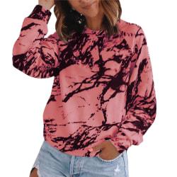 Tie-dye-tryckt långärmad, långärmad tröja med rund hals rosa S