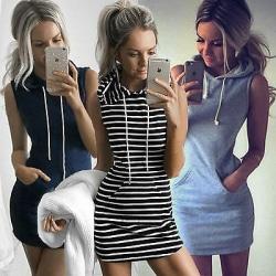 UK Womens Casual Sleeveless Hooded Dresses Summer Hoodie Navy Blue M