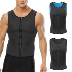 Väst för män viktminskning bastu väst svett kostym dragkedja svart blå 3XL