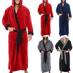 Vintern män och kvinnor färg flanell badrock Par badrock Röd + svart 3XL
