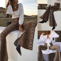 Wild Sexy Women Slim Leopard Flare Pants leopard L