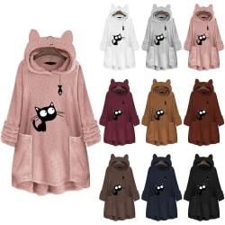 Winter Fashion Fleece Coat Women Fashion Cat Ear Hoodie black XL