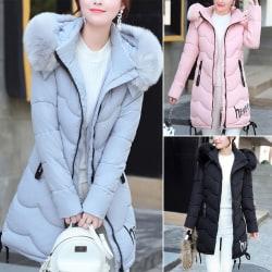 Winter Women Fur Collar Hever Thickening black xl