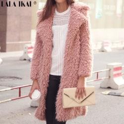 Lång kappa och plyschjacka för kvinnor, kofta fram, kofta rosa M