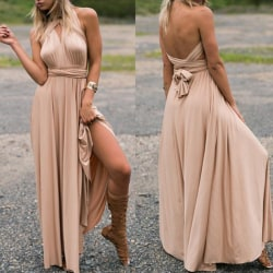 Woman's Sexy Sleeveless Summer Formal Flowy Casual Dress champagne S