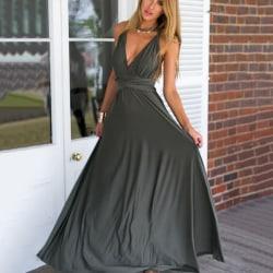 Woman's Sexy Sleeveless Summer Formal Flowy Casual Dress gray M