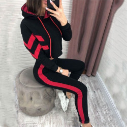 Women 2 piece Hoodied Suit Sport Outfits Red M