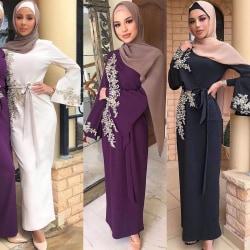 Women Abaya Dubai Muslim Hijab Dress Abayas white L