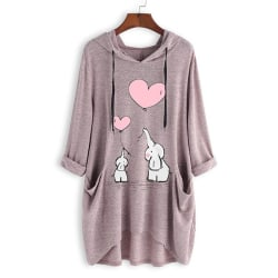 Women Autumn Casual Long Sleeve Cute Cartoon Print Top pink XL