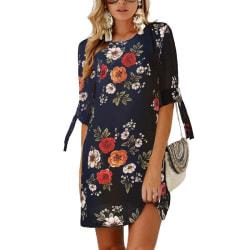 Women's Chiffon Print Round Neck 3/4 Sleeve Dress blue 2XL