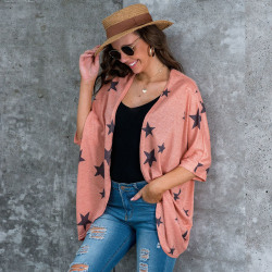 Women Autumn Half Sleeve Cardigan Star Print Casual Loose Jacket Pink S