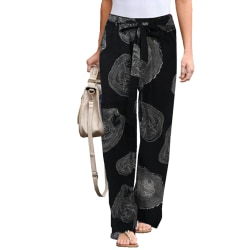 Women Boho Long Loose Yoga Pants Bottoms Casual Full Length Black L