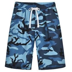 Women Camouflage Shorts Female Elastic Waist Drawstring blue S