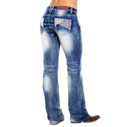 Women Casual Denim Jeans Flag Print Slim Stretchy Skinny Pants Dark Blue S