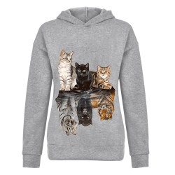 Women Cat Print Hoodie Sweatshirt Long Sleeve Casual Jumper Tops Grey L