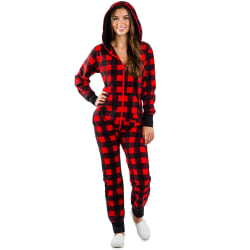 Women Christmas Xmas Plaid Hooded Jumpsuit Printed Long Sleeve Red S