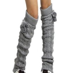 Women Crochet Knit Stocking Winter Knee Leg Warmers Long Socks Light Grey