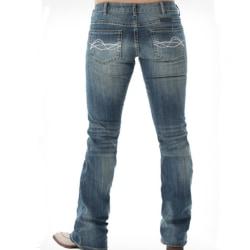 Women Denim Casual Jeans Straight Leg Bottoms Skinny Slim Pants Blue XL