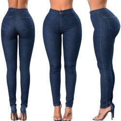 Women Denim Jeans Plain Pants Fitness Solid Slim Fit Trousers Dark Blue 2XL