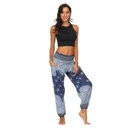 Women Digital Print Fashion Plus Size Sport Fitness Dance Pants purple&blue