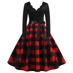 Kvinnors sexiga V-ringning Grid Print Patchwork Midi Dress 2XL