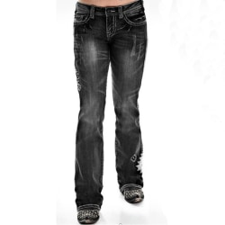 Women Embroidered Pattern Casual Thin Denim Trouser Plus Size Black 32