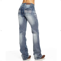 Women Embroidery Bootcut Jeans Denim Low Rise Flared Bottoms Light Blue L