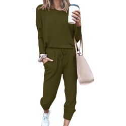 Women Fashion Loose Solid Color Long Sleeve Casual Lounge Set Army Green M