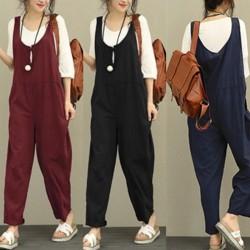Women Fashion Plus Size Loose Supender Long black S