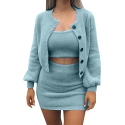 Women Fashion Sexy Slim Waist Strap Cardigan Three-piece Suit blue S
