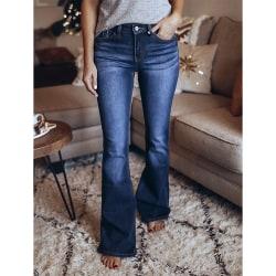 Dam Mode Slim Fit Flared Denim Jeans Casual Byxor Byxa
