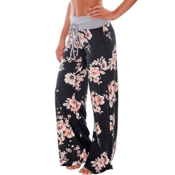Loose yoga pants for women, floral casual beach pants svart XL