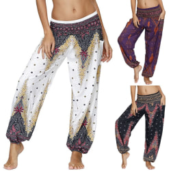 Women Haren Floral High Waist Boho Festival Hippy Pants purple