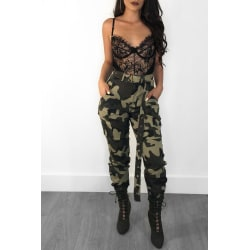 Women High Waist Camouflage Casual Holiday Trousers Long Pants Green S