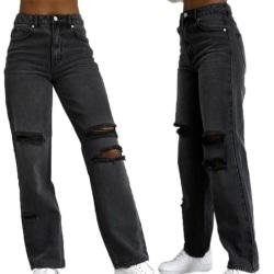 Women High Waist Frayed Jeans Denim Trousers Pants Black Bottoms Black XL