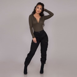 Women High Waist Long Trousers Ladies Casual Fit Cargo Pants Black S
