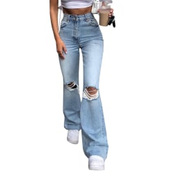 Women High Waist Ripped Jeans Bootcut Stretchy Denim Trousers Blue M
