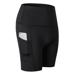 Women High Waist Yoga Shorts black 2XL